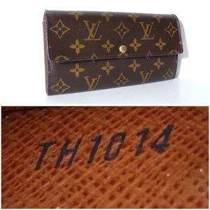Auth Louis Vuitton Sarah Leather Wallet 6CardSlots
